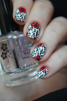 Стемпинг LeadLight: Nail Art Stamp Template Aulic Floral Heart Rosette Pattern QA82