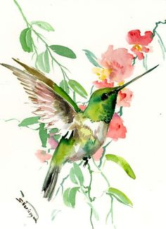 Flying Hummingbird one of a kind original watercolor painting, 12 X 9 in by ORIGINALONLY on Etsy
