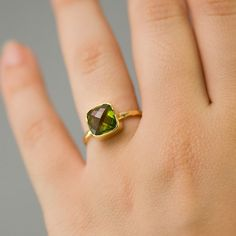 Same birthday month best friend rings! Cushion Cut Peridot Ring  Bezel Ring   Gemstone Ring by delezhen, $62.00