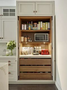8 Unexpected Kitchen Storage Ideas Guaranteed to Whet Your Appetite   Hunker Diy Kitchen Storage, Kitchen Cabinet Design, Kitchen Cabinetry, Kitchen Decor, Kitchen Ideas, Pantry Ideas, Rustic Kitchen, Kitchen Countertops, Cheap Kitchen