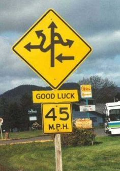 This sign is confusing and requires high cognitive effort. It is trying to depict which way(s) to go, but the sign is a mess and does a poor job actually showing the ways to go.