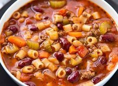 Healthy Pasta Fagioli Soup - 21 Day Fix Approved