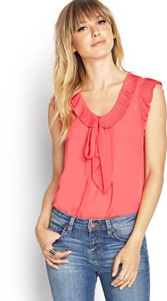 FOREVER 21 Pleated Ruffle Tee