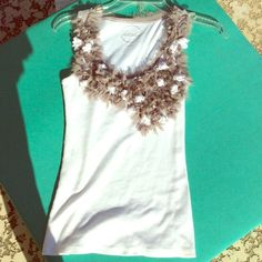 EUC. WHITE RIBBED DRESSY TANK Cute, cute,cute ! Bright white tank with Taupe mesh floral feathering at bodice and up to shoulders.  Mesh feathering at back of collar.  Worn 2 times only. INC International Concepts Tops Tank Tops