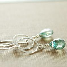 Silver Hoop Earrings With Dangling Teal Gemstones, Green Quartz Drop Earrings, aubepine. $38.00, via Etsy.