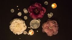 Installation art of singed peony organza flowers & singed circle petals