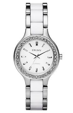 DKNY Ceramic & Stainless Steel Crystal Bezel Watch $175.00