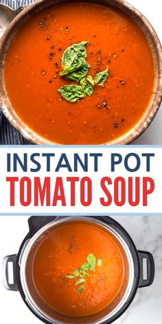 Easy Instant Pot Tomato Soup Easy Fresh and Healthy recipe made with basil. No Cream. Quick to make the best pressure cooker recipes. Fresh Tomato Soup, Tomato Basil Soup, Tomato Soup Recipes, Panera Tomato Soup Recipe, Dairy Free Tomato Soup, Quick Tomato Soup, Healthy Instapot Recipes, Tomato Tomato, Trapillo