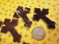 Leather Cross Cowhide Leather Hair On Hide Cross by FLcowgirls #cowgirlbeads #cowhide