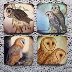 Barn Owls -- Mousepad Coaster Set