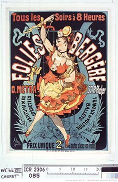 Titre :  ... Folies-Bergère. O. Metra, 32 rue Richer : pantomimes opérettes travaux de voltige... : [affiche] / Chéret 76  Auteur :  Chéret, Jules (1836-1932). Illustrateur  Éditeur :  [s.n.]  Éditeur :  Imp. J. Chéret 18, R. Brunel (Paris)  Date d'édition :  1876  (1011×1566)