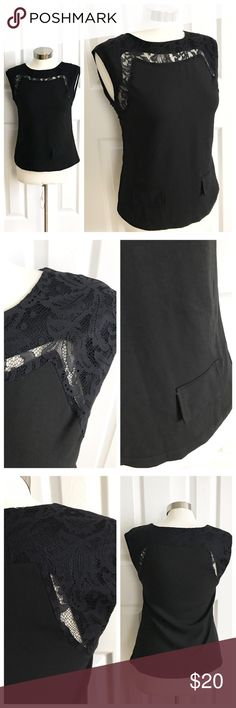 Grazia Giordano Sleeveless Lace Top Dark dark grey sleeveless shirt with gorgeous Lace detail with sheer parts. Faux pockets on front! Great with jeans or with a blazer for work! Size extra small. 100% polyester. Grazia Giordano Tops