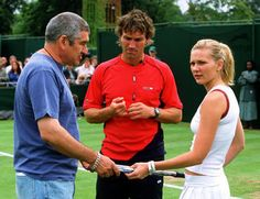 Pat Cash, Richard Longcrain and Kirsten Dunst.  #tennis #wimbledon #patcash #movie #sport