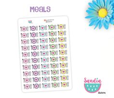 Meals doodle Planner Stickers, perfect for Planners, Erin Condren, Plum Paper, Happy Planner, Filofax, Kikki.k... de SandiaStickers en Etsy