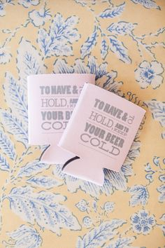 Some Wedding Favors never go out of style ;) See the wedding on Style Me Pretty -- http://www.StyleMePretty.com/southeast-weddings/2014/02/11/preppy-key-west-beach-wedding/ Custom Koozies | 1313 Photography