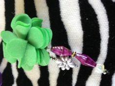 green flower beaded ring