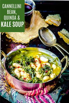 Hearty, warm, filling and comforting this kale soup with cannellini beans and quinoa will keep you full for hours. One bowl is all you need for a satisfying gluten-free vegan dinner. Gluten Free Recipes For Dinner, Delicious Vegan Recipes, Vegetarian Recipes, Healthy Recipes, Bean Recipes, Chili Recipes, Soup Recipes, Kale Recipes, Kale Soup
