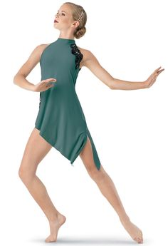 Weissman® | Asymmetrical Mock-Neck Dress