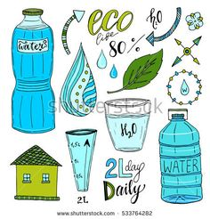 Vector hand drawn set of water and recycle icons. Healthy bright collection with water bottles. Drink more water concept Water Icon, Recycling, Drink More Water, Glass Water Bottle, Restaurant Branding, Vector Hand, Hand Drawn, Illustration, How To Draw Hands