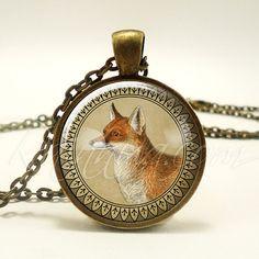 Red Fox Necklace Vixen Wildlife Jewelry Nature Pendant by rainnua
