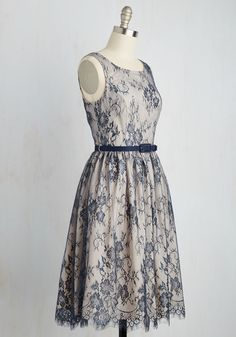 Excel in Elegance Dress. When it comes to loveliness, this lace, A-line dress puts you far ahead of the game! #blue #wedding #bridesmaid #prom #modcloth