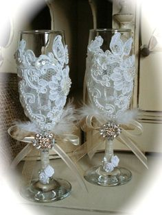 Customized Rustic Wedding Toasting Flutes Champagne by Mydaisy2000, $52.00