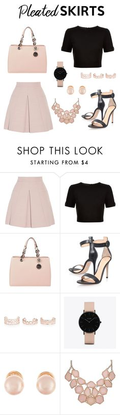 """""""Untitled #145"""" by vianneyfrias ❤ liked on Polyvore featuring Alexander McQueen, Ted Baker, MICHAEL Michael Kors, Gianvito Rossi, New Look, CLUSE, Kenneth Jay Lane and pleatedskirts"""