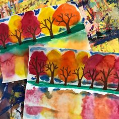 """This week, grade started their Fall reflection paintings. These were created in just a few steps. First draw out """"Y"""" trees on a fol… grade Fall reflections Thanksgiving Art Projects, Fall Art Projects, Classroom Art Projects, School Art Projects, Art Classroom, Thanksgiving Kindergarten Art, Kindergarten Fall Art Lessons, September Art, Autumn"""