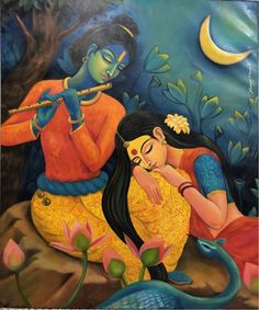 Radha Krishna By Sanjay Biswas Krishna Drawing, Krishna Art, Radha Krishna Paintings, Radha Krishna Photo, Hare Krishna, Texture Painting On Canvas, Kalamkari Painting, Lord Krishna Images, Radha Krishna Images