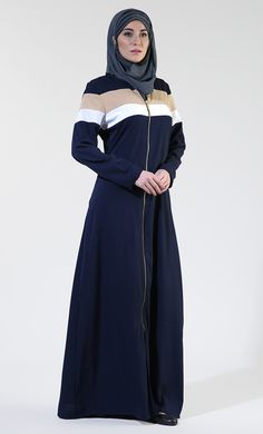 Front Open Everyday Zipper Navy Abaya