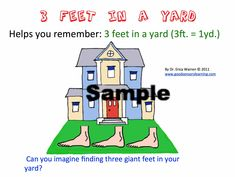 This instructional powerpoint offers twenty-two slides with memory strategies that help elementary students remember simple measurement conversions: twelve inches in a foot, three feet in a yard, four cups in a quart, two pints in a quart, four quarts in a gallon, sixteen ounces in a pound. #measurement Teaching Activities, Math Resources, Fun Learning, Memory Strategies, Teaching Strategies, Emotional Regulation, Elementary Math, Emotional Intelligence, How To Memorize Things