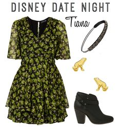 """The Princess and the Frog"" (Tiana) inspired outfit (for date night)"