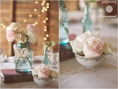 roses in teacups. mason jars on old books. chandeliers hanging from barn rafters. this wedding had some of the most beautiful details I've ever seen: http://nathanrussellphotography.com/?p=3005