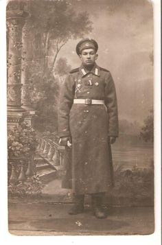 WWI Russian Imperial Army  Soldier With Medals And Badges Photo