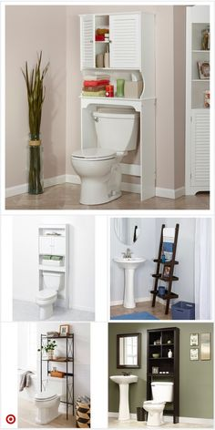 Over The Toilet Etagere Small Space Bathroom, Small Bathroom Storage, Bathroom Renos, Bathroom Ideas, Remodel Bathroom, Design Bathroom, Upstairs Bathrooms, White Bathrooms, Space Saving Furniture