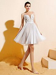 A-line Bateau Knee-length Lace And Tulle Bridesmaid Dress (1846388)would like longer and diff colour. 121.00