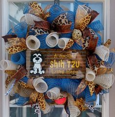 Burlap Mesh Wreath, Burlap Wreath Dog, Shih Tzu Wreath, Dog Lover's Wreath, Burlap Deco Mesh Wreath, Deco Mesh Wreath, Front Door Wreath