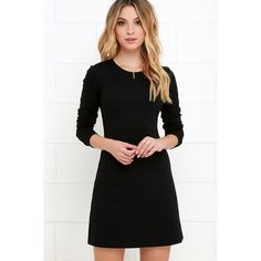Perfectly Posh Black Long Sleeve Dress (155 BRL) ❤ liked on Polyvore featuring dresses, black, knit dress, a line knit dress, long sleeve a line dress, longsleeve dress and lulu's dresses