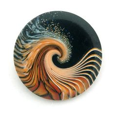 Large Midnight Focal Button by GoHeadOverHeels on Etsy Gorgeous Polymer Clay Swirl Button by Laura Timmons Swirl Technique -- The links in this pin are broken, so there's no tutorial/explanation of how it was achieved. Polymer Clay Kunst, Polymer Clay Canes, Polymer Clay Pendant, Fimo Clay, Polymer Clay Projects, Polymer Clay Creations, Polymer Clay Beads, Clay Crafts, Ceramic Art