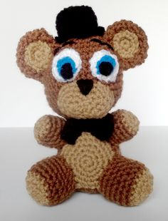 I love to crochet. So, as homage to the game Five Nights at Freddy's, I decided to make one of these little guys. He measures about 8 inches tall. I don't know yet if I'll make the whole gang, but ...