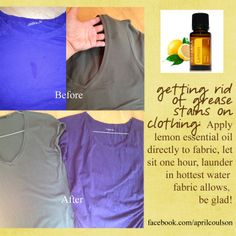Remove grease stains from clothes! This also works on those pesky stickers that  kids always stick on their shirts!