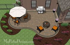 Our Cozy and Curvy Paver Patio Design is colorful, fun and relaxing with areas to dine outdoors and enjoy a night roasting marshmallows. Downloadable Plan.