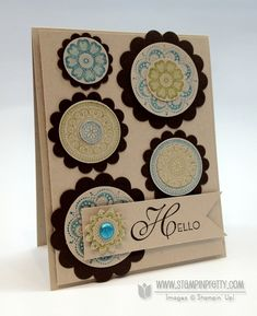 "Textile Inspired Lacy & Lovely Card by Mary Fish.  ♥ the Brad!  Features the Stampin' Up! stamp set ""Lacy & Lovely"".  ♥♥♥ the colour combo of Crumb Cake and Early Espresso, with inks: Tempting Turquoise, Lucky Limeade and Early Espresso."