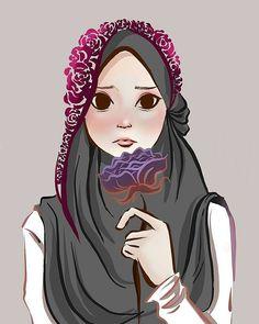 vector girl moslem t shirt design color red - Red Things Hijabi Girl, Girl Hijab, Hijab Outfit, Girl Cartoon, Cartoon Art, Hijab Drawing, Islamic Cartoon, Hijab Cartoon, Islamic Girl