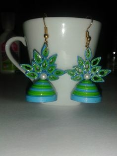 Quilled green blue jhumka