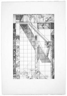 """Franco Purini, Dedicato allo storico, 1977, Acquaforte - acquatinta su carta Rosaspina, 70x50 cm, ciclo """"Pareti. 1977: sette incisioni"""" #sketch"""