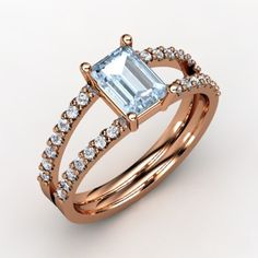 The Samantha Ring <3 Rose gold, 24 little diamonds and a center gorgeous Aquamarine <3