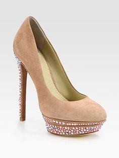 B Brian Atwood, Crystal-Coated Suede Platform Pumps