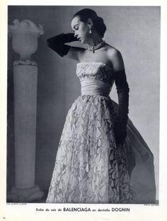 Balenciaga 1951 Evening Gown Lace Photo Skilford