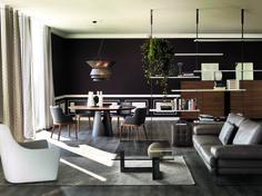 Fluid interior design by Cattelan Italia Esstisch Design, Dining Table Design, Dining Tables, Round Tables, Furniture Showroom, Lounge Furniture, Living Room Interior, Contemporary Furniture, Contemporary Lounge